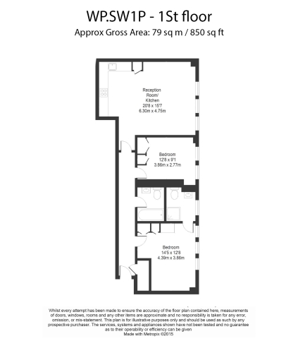 2 bedroom(s) flat to rent in Willow House, Willow Place, Victoria SW1P-Floorplan