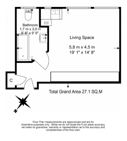 Studio flat to rent in Sloane Avenue Mansions, Chelsea, SW3-Floorplan