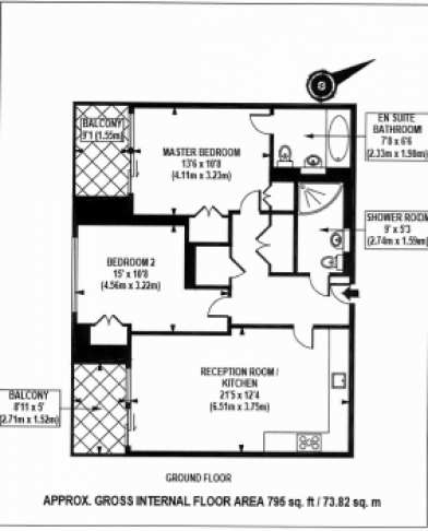 2 bedroom(s) flat to rent in The Courthouse, Westminster, SW1P-Floorplan