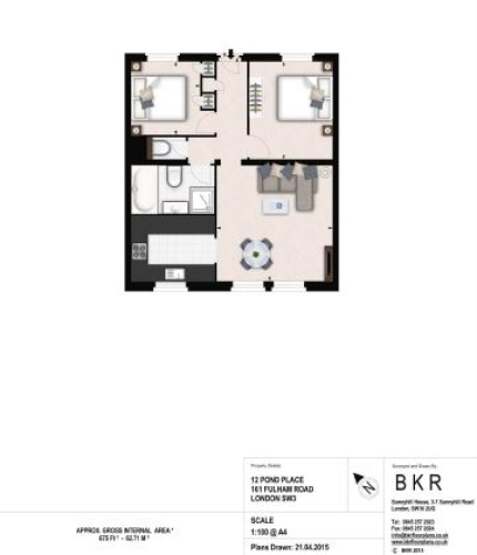 2 bedroom(s) flat to rent in Fulham Road, Chelsea, SW3-Floorplan