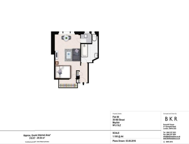 Studio flat to rent in Hill Street, Mayfair, W1J-Floorplan