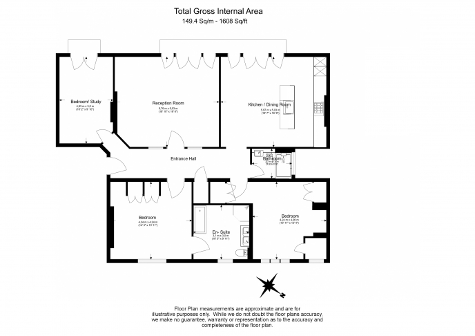3 bedroom(s) flat to rent in Carlisle Mansions, Carlisle Place, Victoria SW1P-Floorplan