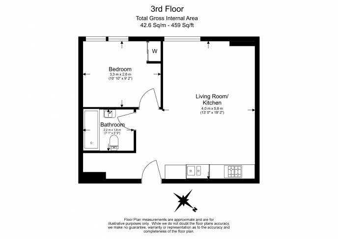1 bedroom(s) flat to rent in Nell Gwynn House, Chelsea, SW3-Floorplan