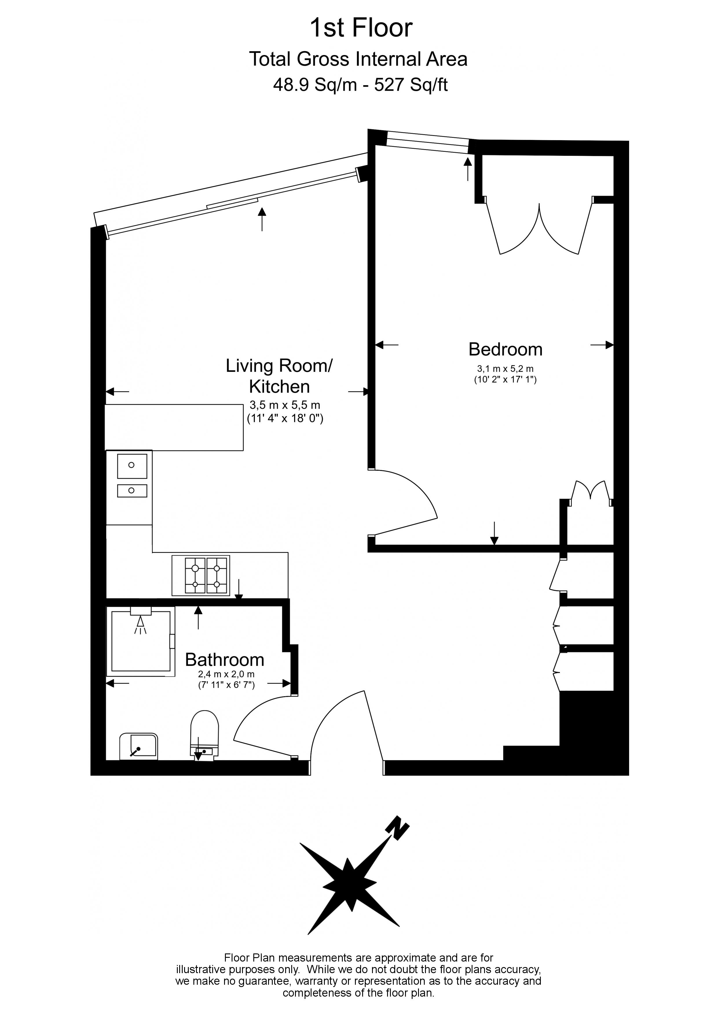 1 bedroom(s) flat to rent in King's Gate Walk, Victoria, SW1-Floorplan