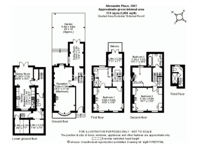 3 bedroom(s) house to rent in Alexander Place, South Kensington, SW7-Floorplan
