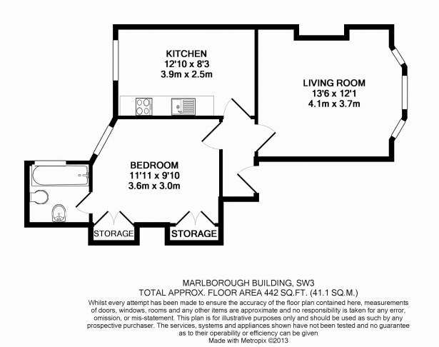 1 bedroom(s) flat to rent in Marlborough, Walton Street, Chelsea, SW3-Floorplan