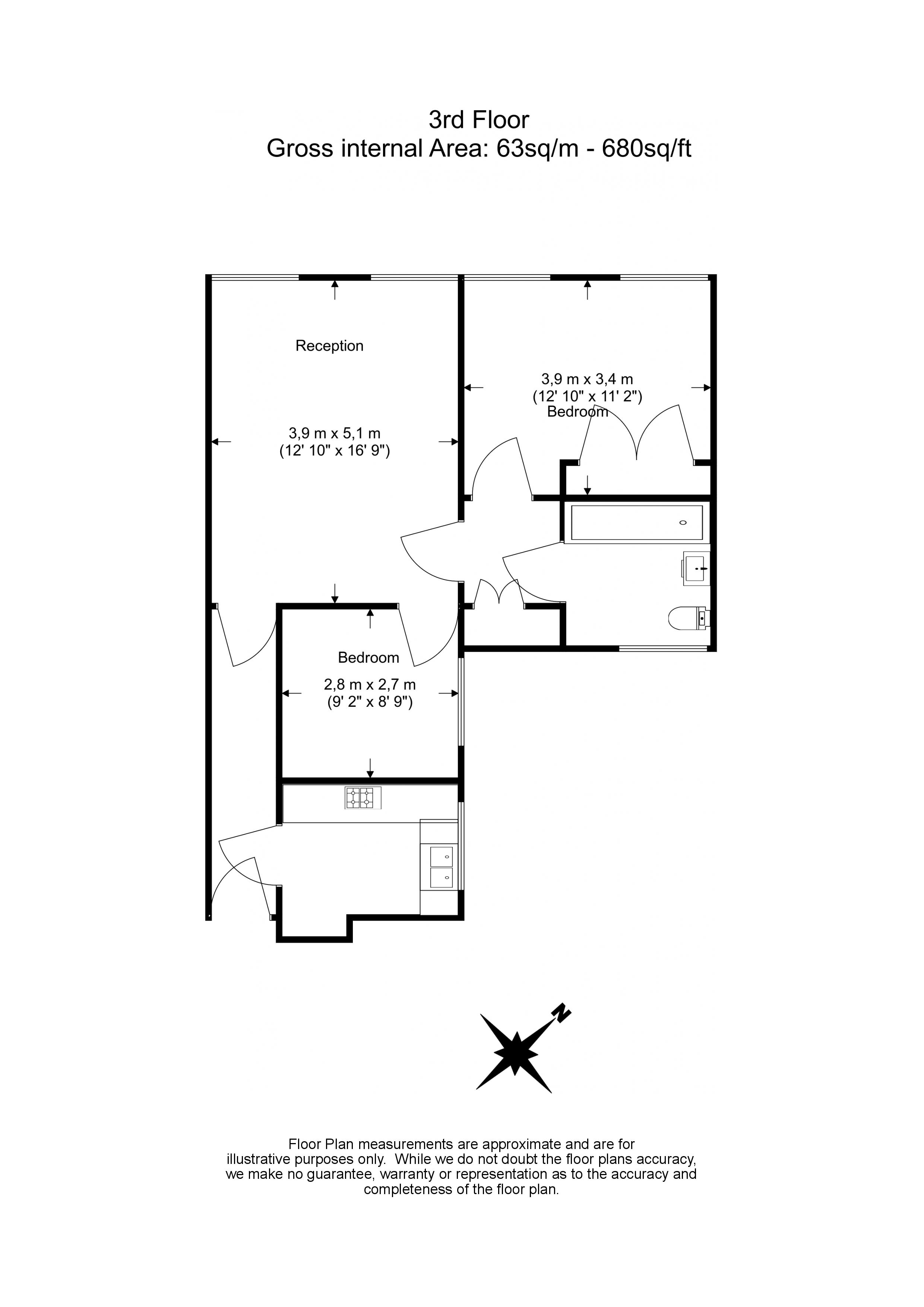 2 bedroom(s) flat to rent in St. Georges Court, Brompton Road, SW3-Floorplan