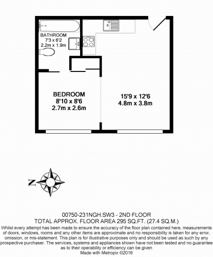 Studio flat to rent in Nell Gwynn House, Sloane Avenue, Chelsea, SW3-Floorplan