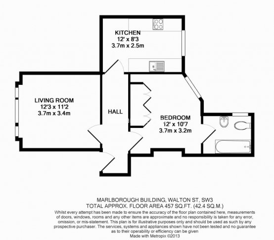 1 bedroom(s) flat to rent in The Marlborough, Walton Street SW3-Floorplan