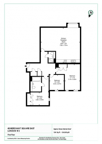 3 bedroom(s) flat to rent in Merchant Square, Paddington, W2-Floorplan