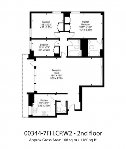 3 bedroom(s) flat to rent in Falmouth House, Hyde Park, W2-Floorplan