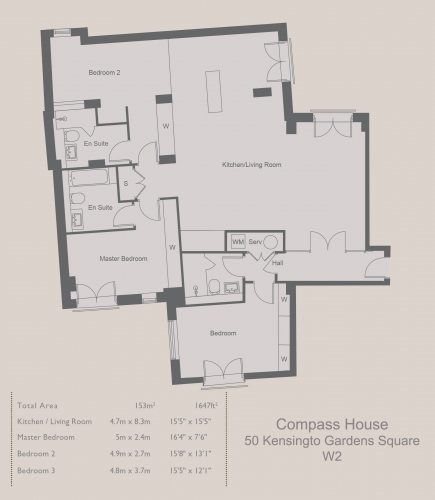 3 bedroom(s) flat to rent in Compass House, Kensington Gardens Square, Bayswater, Hyde Park, W2-Floorplan