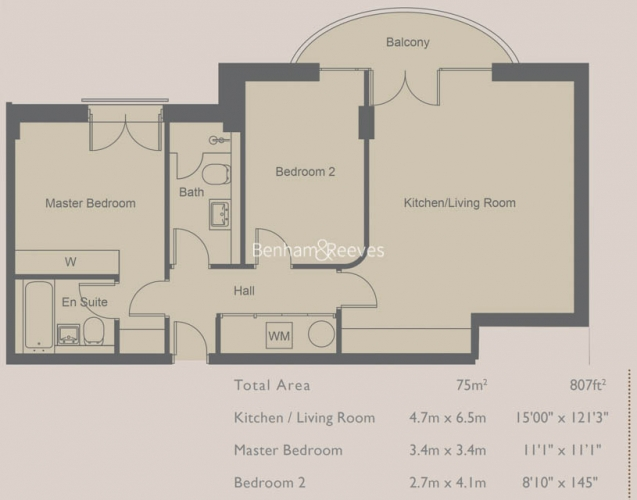 2 bedroom(s) flat to rent in Compass House, Kensington Gardens Square, Bayswater, Hyde Park, W2-Floorplan