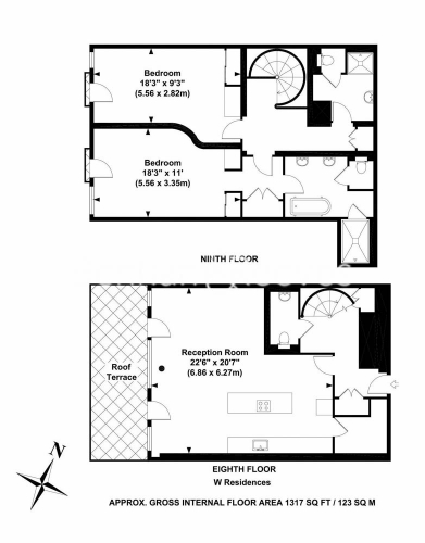 2 bedroom(s) house to rent in W Residences, Wardour Street, Soho, Fitzrovia,W1D-Floorplan