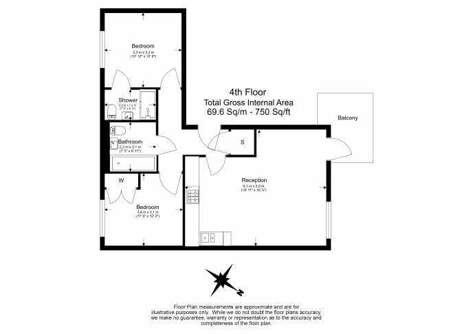 2 bedroom(s) flat to rent in Hand Axe Yard, St Pancras Place, Kings Cross, WC1X-Floorplan