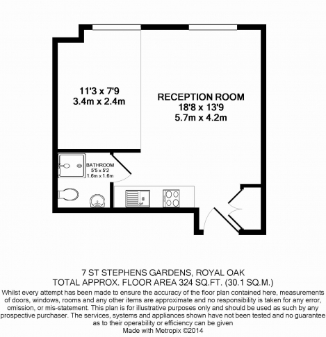 Studio flat to rent in St. Stephen Gardens, Bayswater, W2-Floorplan