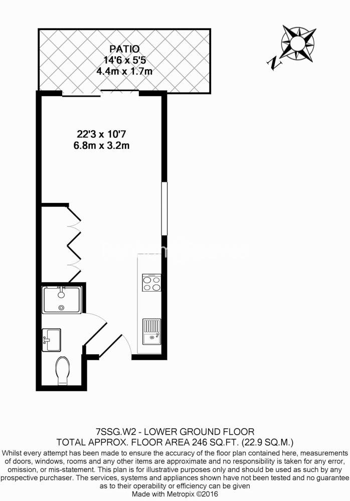 Studio flat to rent in St Stephens Gardens, Notting Hill Gate, W2-Floorplan