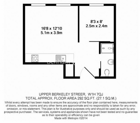 Studio flat to rent in Upper Berkeley Street, Hyde Park, W1H-Floorplan