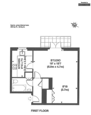 Studio flat to rent in Brompton Park Crescent, Kensington, SW6-Floorplan