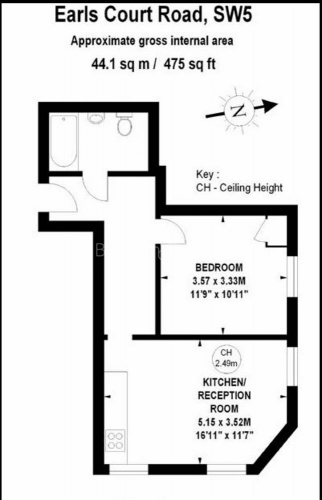 1 bedroom(s) flat to rent in Earl's Court Road, Earl's Court, SW5-Floorplan