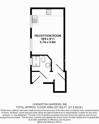 Studio flat to rent in Cheniston Gardens, Kensington, W8-Floorplan