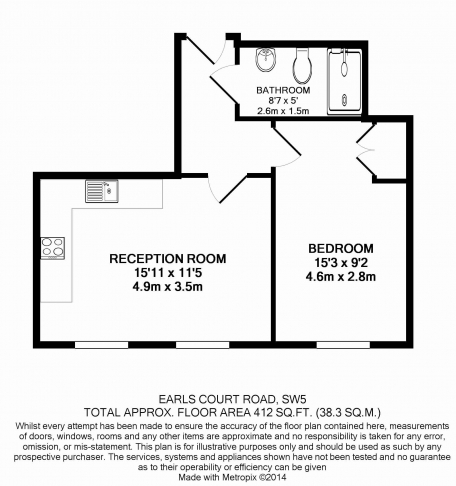 1 bedroom(s) flat to rent in Earls Court Road, Earl's Court, SW5-Floorplan