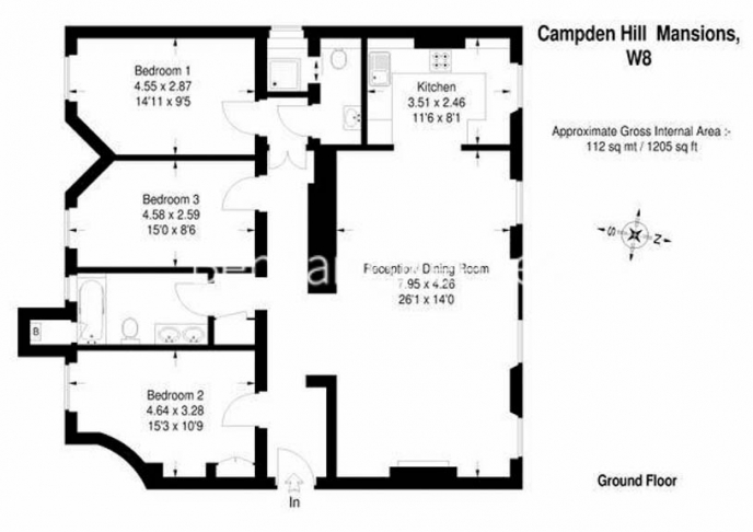 3 bedroom(s) flat to rent in Campden Hill Mansions, Edge Street, W8-Floorplan