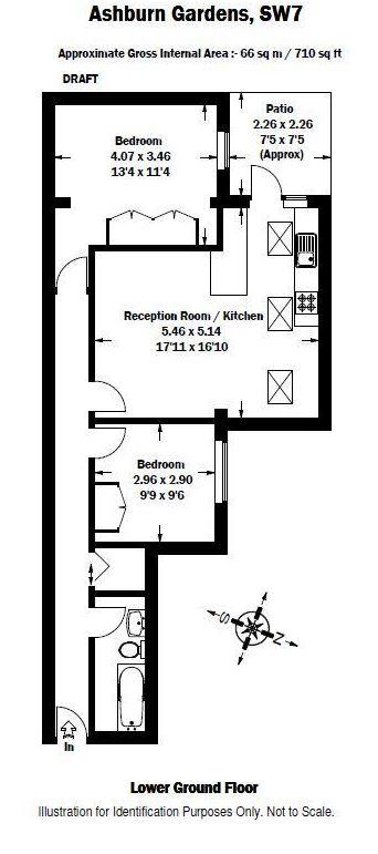 2 bedroom(s) flat to rent in Ashburn Gardens, Gloucester Road, SW7-Floorplan