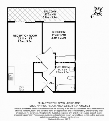 1 bedroom(s) flat to rent in 375 Kensington High Street, London, W14-Floorplan
