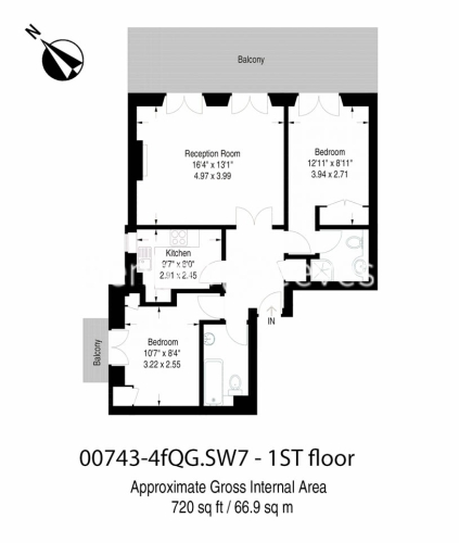 2 bedroom(s) flat to rent in Queen's Gate, South Kensington, SW7-Floorplan