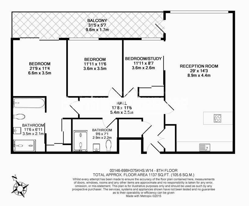 3 bedroom(s) flat to rent in 375 Kensington High Street, W14-Floorplan