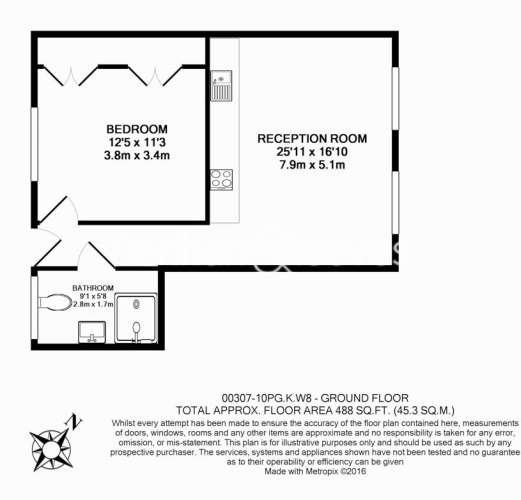 1 bedroom(s) flat to rent in Palace Gate, Kensington, W8-Floorplan
