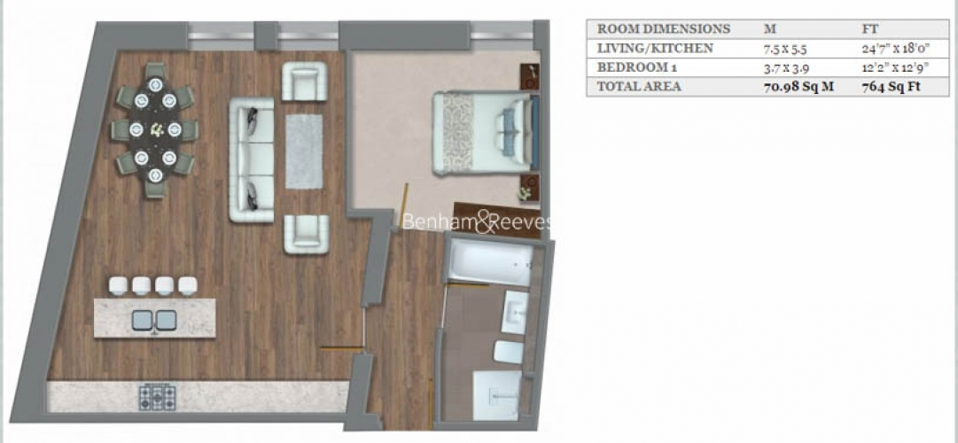 1 bedroom(s) flat to rent in Kensington High Street, Kensington, W8-Floorplan