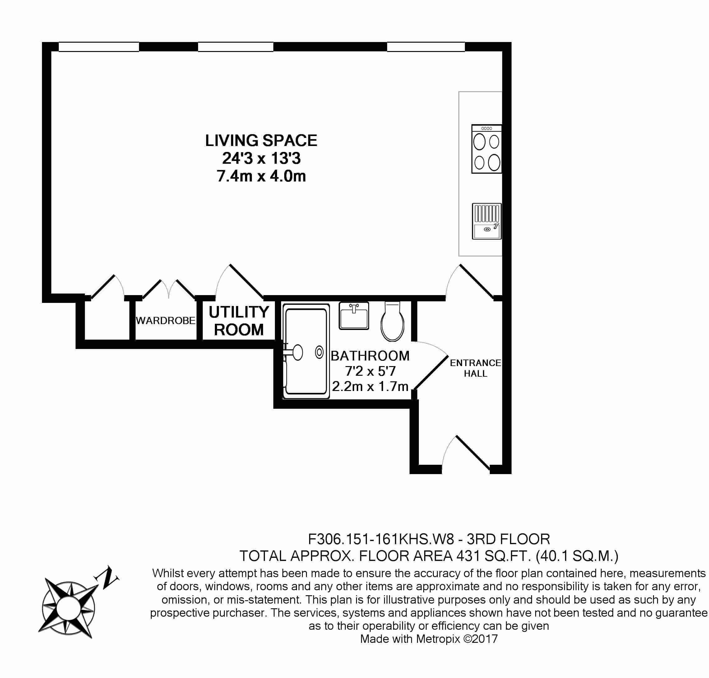 Studio flat to rent in Kensington High Street, Kensington, W8-Floorplan