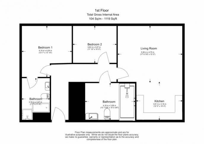 2 bedroom(s) flat to rent in Radnor Terrace, Kensington, W14-Floorplan