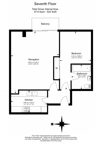 1 bedroom(s) flat to rent in Cromwell Road, Kensington, SW7-Floorplan