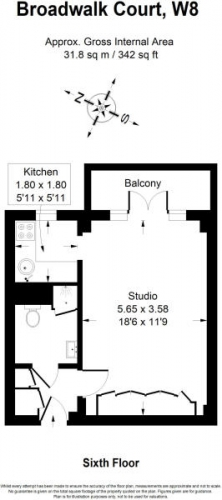 Studio flat to rent in Palace Gardens, Notting Hill, W8-Floorplan