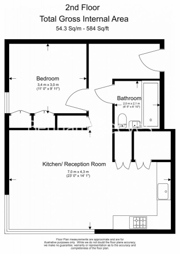 1 bedroom(s) flat to rent in Lillie Square, Earls Court, SW6-Floorplan