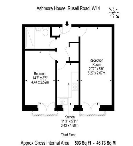 1 bedroom(s) flat to rent in Ashmore House, Russell Road, W14-Floorplan