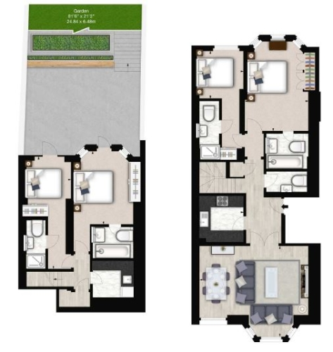 4 bedroom(s) flat to rent in Lexham Gardens, Kensington, W8-Floorplan