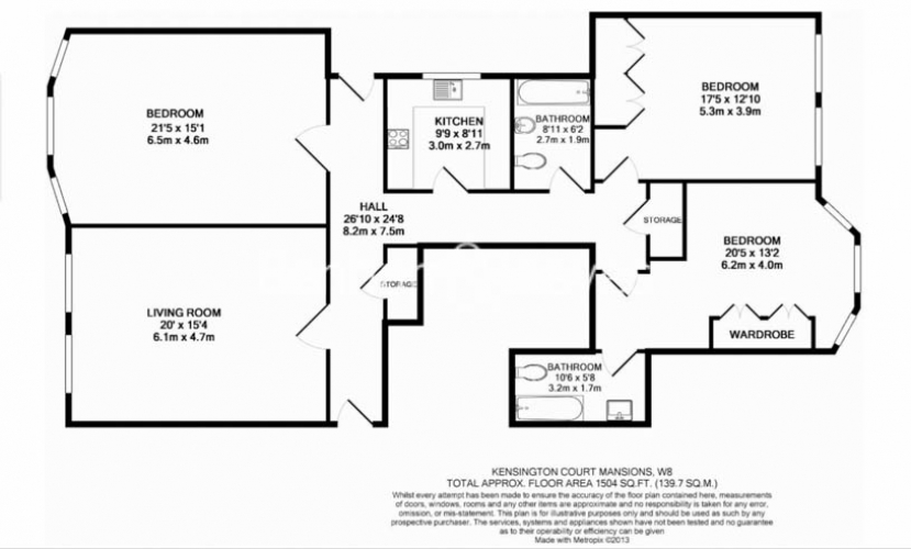 3 bedroom(s) flat to rent in Kensington Court Mansions, Kensington, W8-Floorplan