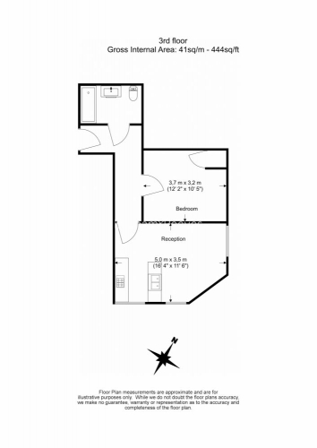 1 bedroom(s) flat to rent in Earls Court Road, Kensington, SW5-Floorplan