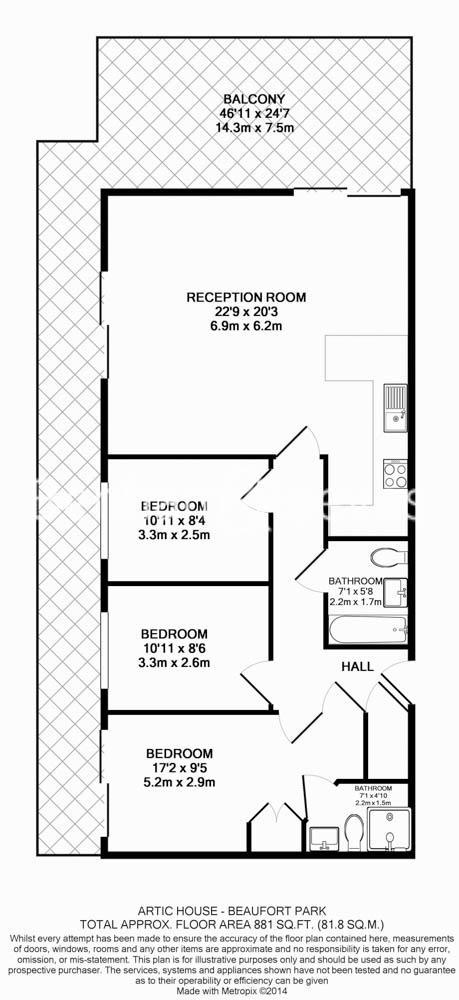 3 bedroom(s) flat to rent in Beaufort Park, Colindale, NW9-Floorplan