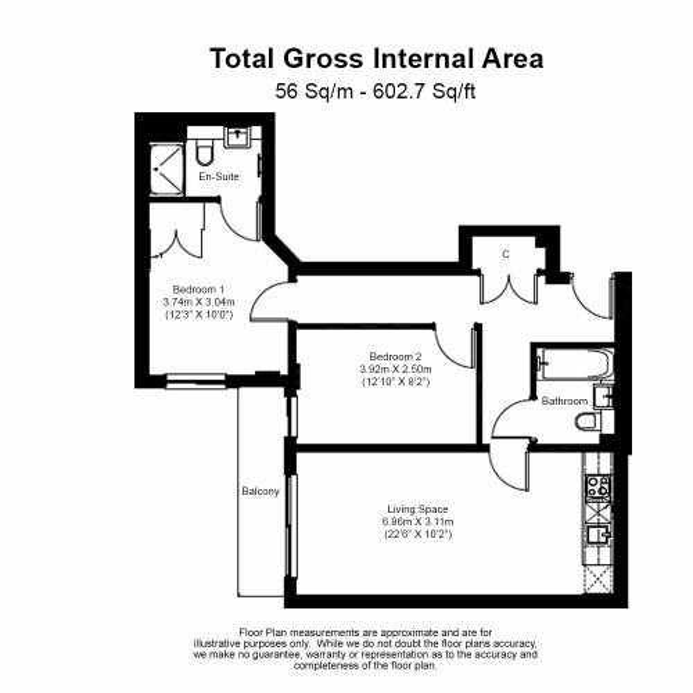2 bedroom(s) flat to rent in Heritage Avenue, Colindale, NW9-Floorplan