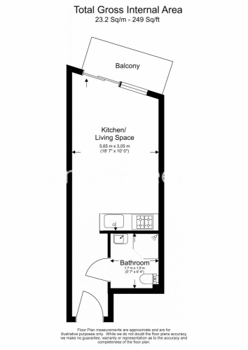 Studio flat to rent in Boulevard Drive, Colindale, NW9-Floorplan