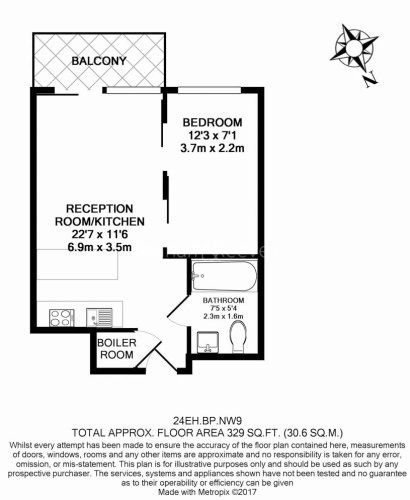 Studio flat to rent in East Drive, Colindale, NW9-Floorplan