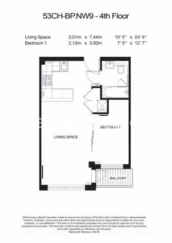 Studio flat to rent in Heritage Avenue, Colindale, NW9-Floorplan