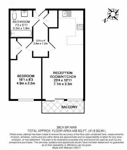 1 bedroom(s) flat to rent in Beaufort Park, Colindale, NW9-Floorplan