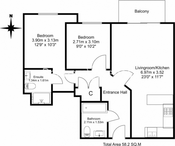 2 bedroom(s) flat to rent in Curtiss House, Beaufort Park NW9-Floorplan