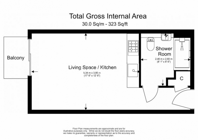 Studio flat to rent in Aerodrome Road, Colindale, NW9-Floorplan